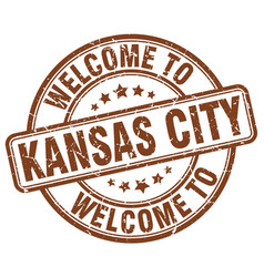 Welcome to kansas city brown round vintage stamp vector