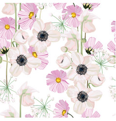 white pink anemone and pink autumn flower vector image