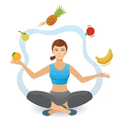Woman juggling various fruit vector