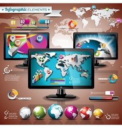 World map and information graphic on shiny display vector