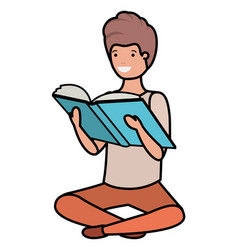 Young students sitting reading book vector