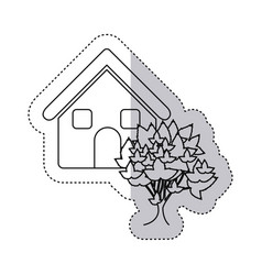 sticker monochrome contour house with tree vector image