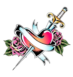 sword heart ribbon leaves vector image vector image