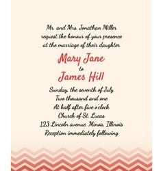 Wedding invitation with zigzag elements vector