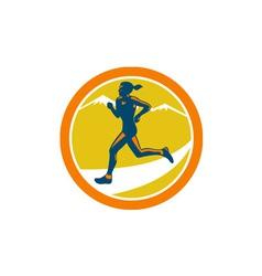 Female triathlete runner running retro vector