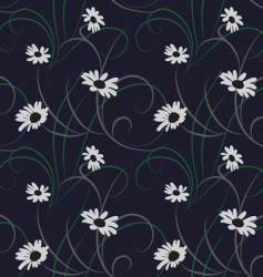 flower seamless dark blue background vector image vector image