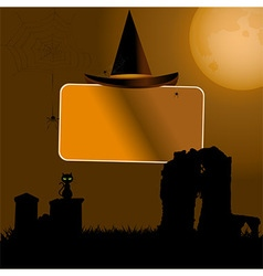 Halloween sign with hat background vector image vector image