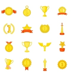 Trophy award icons set in cartoon style vector image vector image