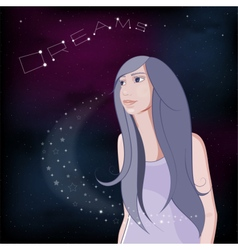 Dreaming girl on night sky background vector image