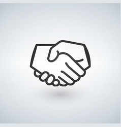handshake line icon partnership and agreement vector image