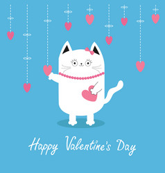 happy valentines day white cat hanging pink vector image vector image