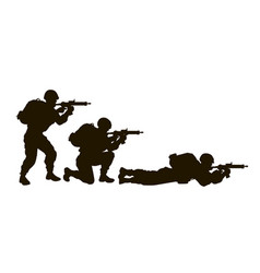 soldiers silhouette set vector image vector image