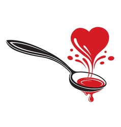 spoon and heart vector image vector image