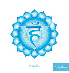 throat chakra vissudha glowing chakra icon vector image