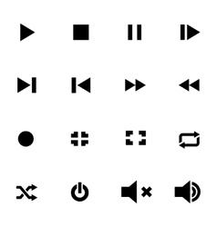 black media player icon set vector image