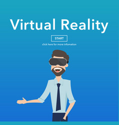 business use virtual reality web page concept vector image vector image