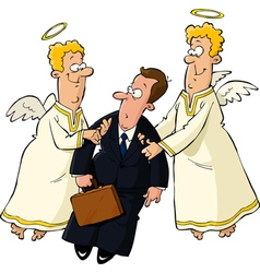 businessman and angels vector image vector image
