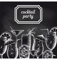 Cocktail party chalkboard background vector image vector image