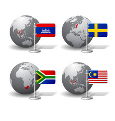 gray earth globes with designation of cambodia vector image vector image