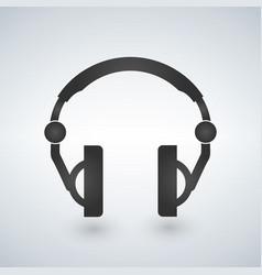 headphones icon black symbol silhouette isolated vector image