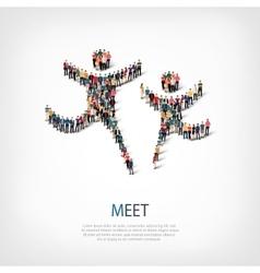 meet people sign 3d vector image