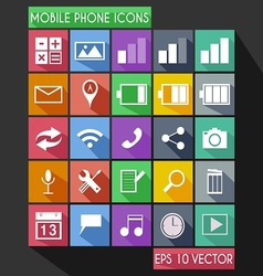 Mobile Phone Flat Icon Long Shadow vector image