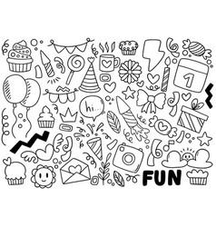0097 hand drawn party doodle happy birthday vector
