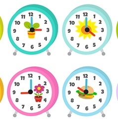 12 colorful table clocks vector image
