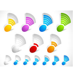 3d wireless signal strength indicator set vector image