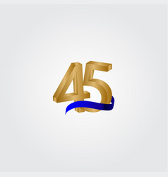45 years anniversary celebration number gold vector