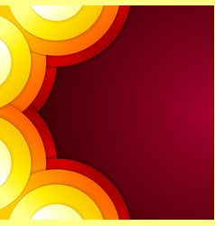 Abstract yellow orange and red paper round shapes vector image