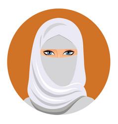 Arabic muslim woman in white niqab isolated vector