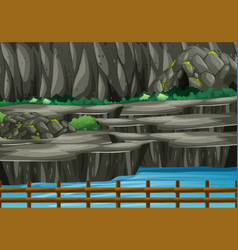 Background scene park with cave and river vector