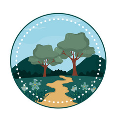 beautiful forest stamp vector image