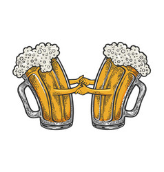 beer mug dance color sketch engraving vector image