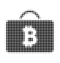 Bitcoin case halftone dotted icon vector