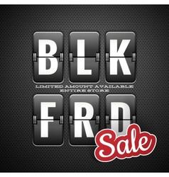 black friday sale analog flip clock style eps 10 vector image