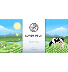 bright rural meadow landscape background vector image