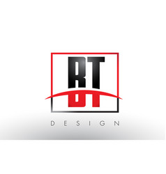 Bt b t logo letters with red and black colors and vector
