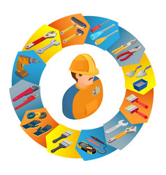 builder in uniform professional tools isometric vector image