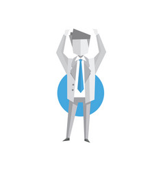 businessman standing with arms up vector image