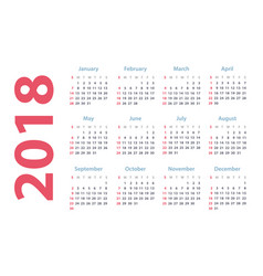 Calendar for 2018 starts sunday calendar vector