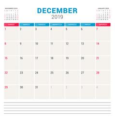 calendar planner for december 2019 week starts on vector image