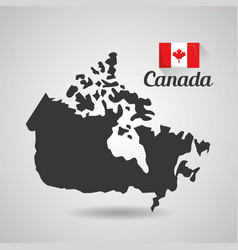 canada flag map monument vector image