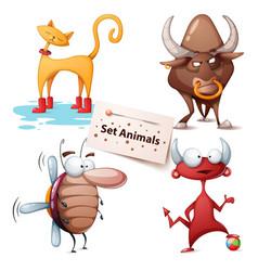 cat bull cockroach devil - set animals vector image