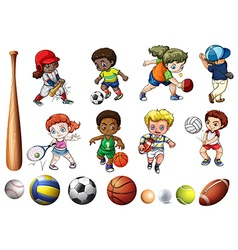 Children playing ball related sports vector