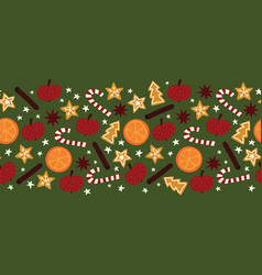 Christmas spices seamless border repeating vector