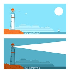 collection set of banners about lighthouse in blue vector image