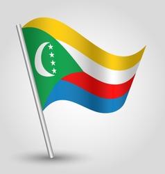 comorian flag on pole vector image