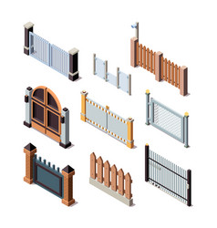 construction fences garden door gate metals or vector image
